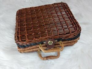 Vintage Woven Wicker Rattan Picnic Basket Suitcase Style Storage Home Decor