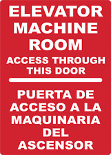 Elevator Machine Room Maquinaria Ascensor Bilingual Adhesive Vinyl Sign Decal