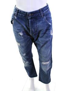 Pierre Balmain Mens Cotton Denim Distressed Straight Leg Jeans Blue Size 34