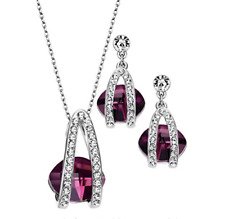 Set Necklace Earrings with crystals SWAROVSKI Purple Hypoallergenic New
