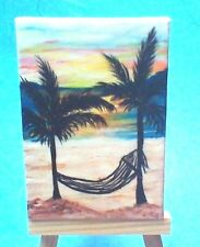 Original Mini Canvas Painting Featuring - Sunset time in the hammock