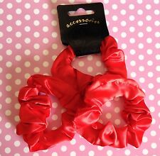 NEW PACK 3 RED SATIN FABRIC SCRUNCHIE HAIR ELASTIC PONYTAIL BAND SCHOOL GYM HOLS