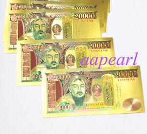 Wholesale 10 Pcs Mongolia Golden Crafts Banknotes 20000 Tugrik Paper Money Gift