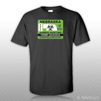 Nebraska Zombie Hunting Permit T-Shirt Tee Shirt Free Sticker outbreak response