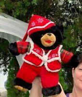 RARE Vintage Dan Dee 2007 Black Teddy Bear Christmas Plush Stuffed Animal Toy b