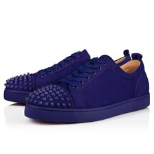 Christian Louboutin Mens Louis Junior Spikes Flat Nomade Blue Low Top Sneaker 49