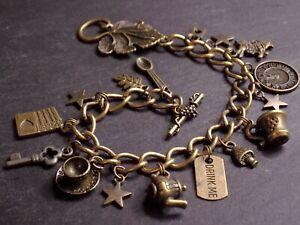 Vintage Bronze Plated Alice in Wonderland Charm Bracelet Drink Me Tea