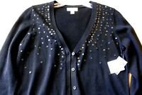 ST JOHN BAY BUTTON DOWN WOMEN'S SWEATER, BLACK, SIZE SMALL, NWT