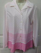 True Vintage Womens Sz 14 Pink & White Stripes-Polka Dots 100% Polyester Shirt