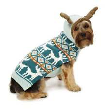 Begood Antler Hooded dog puppy sweater coat jacket teal reindeer Size:X-Small