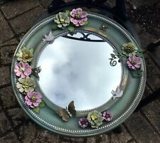 Vintage Victorian Inspired Beautiful Hand Decorated Mirror Flowers Butterflies