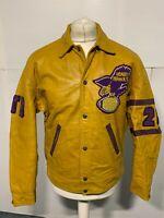 VINTAGE 70'S HENRY HAWKS DISTRESSED LEATHER JACKET SIZE 40 / L BASEBALL HOCKEY