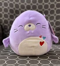 "NWT Squishmallow 8"" Purple Walrus Winnie Valentine 2020 plush kellytoy NEW"