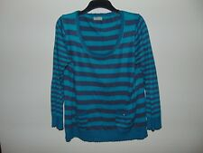 Marks and Spencer M&S Per Una Green Grey Stripe Long sleeve Top Woman's Size 20