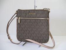 NEW Michael Kors Large Flat Messenger Brown PVC Leather Shoulder Handbag