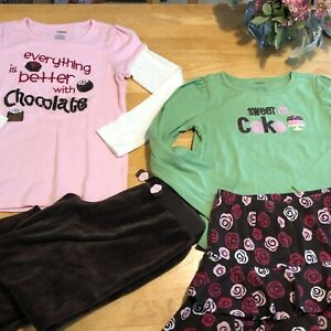 Gymboree Sweet Treats shirts skirt skort pants hearts barrettes Sz 8 Chocolates