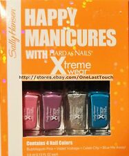 SALLY HANSEN* 4pc XTREME WEAR Mini Nail Polish Set HAPPY MANICURES Hard as Nails