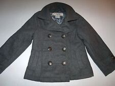 Gray Wool Blend Military Peacoat Pewter-Look Buttons Lined Pockets Size 5/6