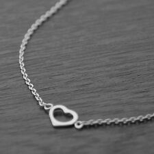 "Genuine 925 Sterling Silver Open Heart on Rolo Chain Necklace (18"" / 45cm)"