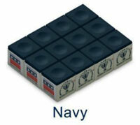 One Dozen NAVY BLUE Silver Cup Billiards Pool Cue Stick Chalk (12 cubes)