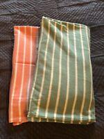 2 Polo Ralph Lauren Mens Orange / Green  Striped Shirt Large / Medium Fit NWT