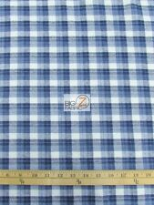 "TARTAN PLAID UNIFORM APPAREL FLANNEL FABRIC Blue/White 60"" WIDE BY THE YARD 12"