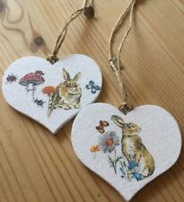 2 X Easter Bunny Hanging Decorations Handmade Real Wood Heart Quality Decal