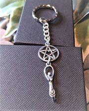 Handmade Pentagram Goddess Silver Plated Keyring/bag Charm. Gift Boxed.
