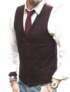 Mens Burgundy Wine Red Check Tailored Fit Waistcoat Vest Gilet Wool Handle Tweed