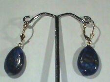 14kt Gold Leverback Earrings Wide Lapis Lazuli Drop 14kt Gold Spoon Back Finding