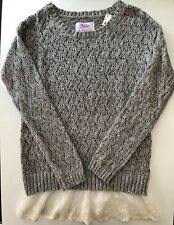 NWT Justice Girl Long Sleeves Sweater Size 8, Gray With Sliver Shiny Yarn