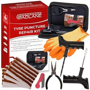 GADLANE Car Tyre Puncture Emergency Repair Kit Flat Tire Tools Plug 7pc Tubeless