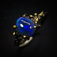 Black Opal Ring 925 Sterling Silver Size 8.5 /RT19-0258