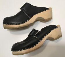 Bodwok Black Leather Wood Clogs Sz 35 Us 5 Womens Vtg