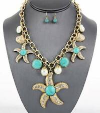 AQUATIC SEA LIFE STARFISH GOLD TONE CHARM TURQUOISE LUCITE STUD NECKLACE EARRING