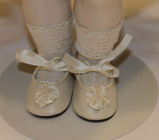 "German style shoes 4 antique bisque or vintage composition doll 1 3/8"" long sz11"
