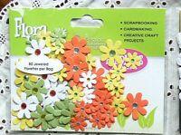 80 Jewelled Florettes GREEN WHITE YELLOW ORANGE - FLORA DOODLES 15-25mm Petalo I