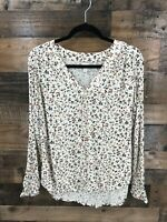 Hinge Women's Cream Floral Boho Crepe Long Sleeve Popover Top Size L