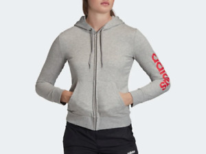 Adidas Jacket Womens XS to Medium New Gray Pink Essential Linear Hooded Full Zip