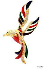 Huge Vintage Enamel  Gilded Gold Metal Crystal Rhinestone Paradise Bird Brooch