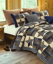 WOODLAND STAR Full Queen QUILT SET : COUNTRY CABIN PRIMITIVE 5 POINT BLUE PLAID