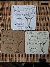 """Wedding Coasters (50x) """"To the Bride and Groom"""" - Personalised - Rounded"""