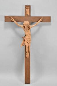 k63i02- Kruzifix/ Wandkreuz, Holz geschnitzt Corpus Christi