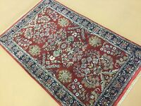 "3'.0"" X 4'.11"" Red Navy Blue Traditional Floral Oriental Area Rug Hand Knotted"
