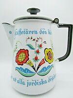 VTG Berggren - Ware Floral Mid-Century Enamelware 6 Cup Coffee Pot Kettle