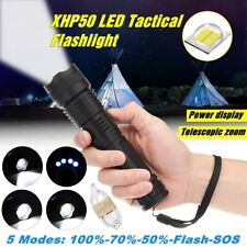 90000LM LED Tactical Flashlight XHP50 Highlight Military Zoomable Torch USB Lamp