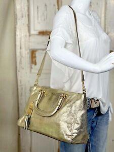 RALPH LAUREN Banbury Large Metallic Gold Leather Snakeskin Satchel Tote Handbag
