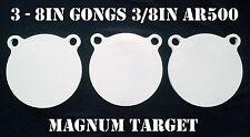 8 Inch AR500 Steel Gongs - 3/8in. Rifle/Pistol Targets - 3pc. Metal Target Set