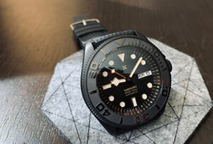 Sea Ocean Yachtmaster GOLD BLACK stealth custom sub diver Seiko 5 SKX SRPD 30ATM