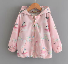 Girls Waterproof Birds Print Jersey Lined Long Zip Lightweight Jacket Kids Coat